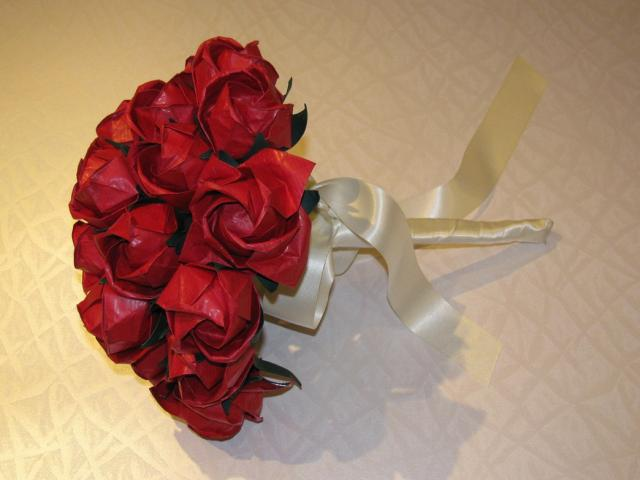 origami wedding bouquet with red roses hi res