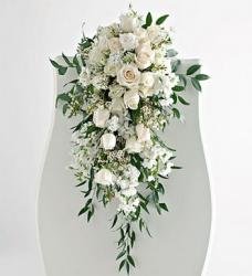 picture of Wedding Pew Arrangement in white flowers and cream roses.jpg
