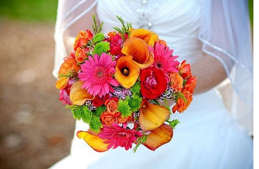 Summer Colorful Flowers Wedding Bouquet Picture