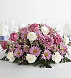 Classic Wedding Centerpiece with light purple rose and pink and white flowers.jpg