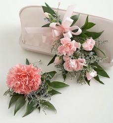 Carnation Corsage & Boutonniere Package with pink flowers.jpg