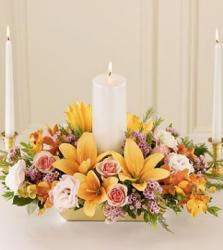 Unity Candle Arrangement for weddings with colorful flowers for summer.JPG
