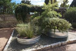 Large circular steel planters at Lady Bird Johnson Wildflower Center.jpg