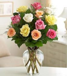 Four color roses arrangement with glass vase.JPG