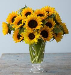 Image of Yellow Sunflower arrangement with glass vase.JPG