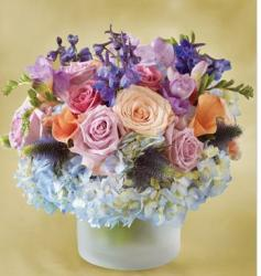 Lavender Blue arrangement with icy vase glass.JPG