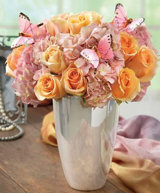 Peach Pink Arrangement In Beautiful Silver Vase With