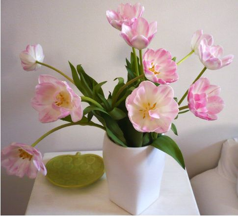 Pink tulips arrangement with white vase pictures.JPG