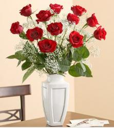 Red roses arrangement with white small flowers in white vase.JPG