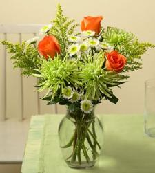 summer arrangement with orange rose with white and green flowers photo.JPG