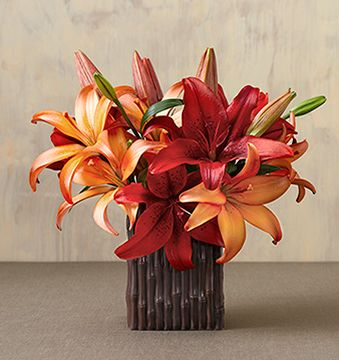 Twilight Lily in beautiful orange and red in brown vase.JPG