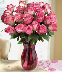 Two tones roses arrangement in dark pink glass vase.JPG
