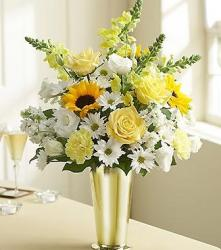 Yellow and white flowers arrangement with gold vase photo.JPG