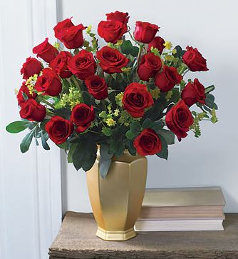 Big Red Roses Arrangement In Gold Vase Picturesg
