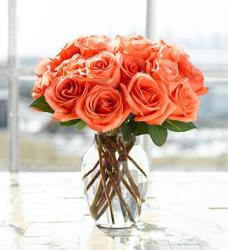 Bright orange roses arrangement in glass vase photo.JPG