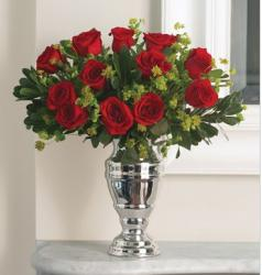 Elegant and classic red roses arrangement in silver vase pictures.JPG
