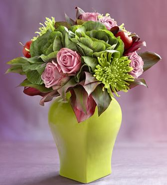 Exotic green arrangement with pink roses pictures.JPG