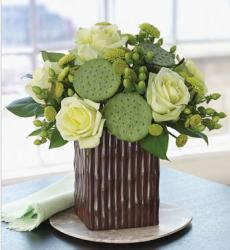 Exotic lotus arrangement with greenish flowers picture.JPG