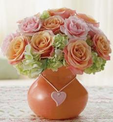 Flower peach and pink arrangement picture.JPG